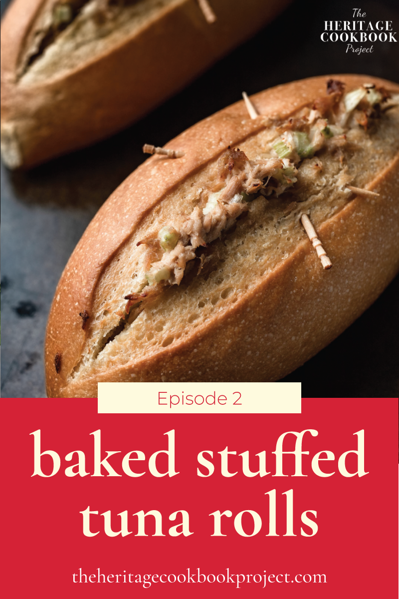 Baked Stuffed Tuna Rolls with tuna and celery spilling out and toothpicks holding the roll together.