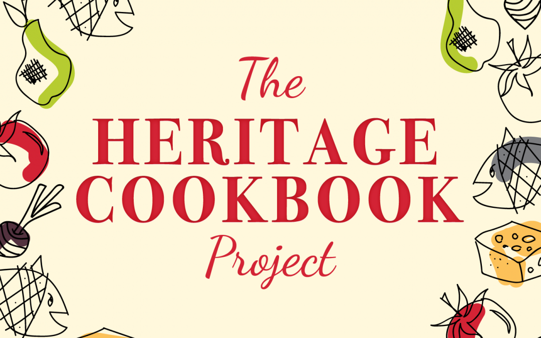 The Heritage Cookbook Project Podcast Cover Art with cream background, logo and vintage spot illustrations of cheese, fish, tomatoes, beets, pears and peas.