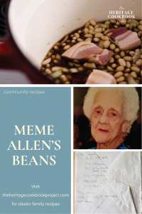 Meme Allen's Beans collage of beans, meme and the handwritten recipe.