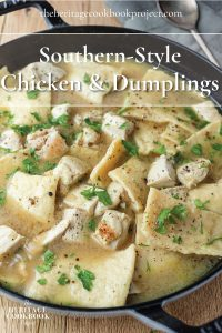 Chicken and Dumplings in an cast iron skillet.