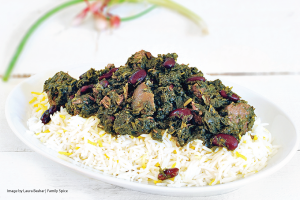 Khoresteh Gormeh Sabzi on a white serving platter