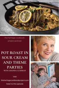 Pot Roast and Theme Parties collage with pot roast, Amanda Cushman's head shot and a picture of her mother reading to Sam.